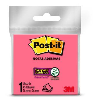 POST IT 3M NOTAS ADESIVAS ROSA 76X76 COM 45 FOLHAS