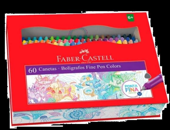 CANETA FABER CASTELL FINE PEN COLORS COM 60 UNIDADES