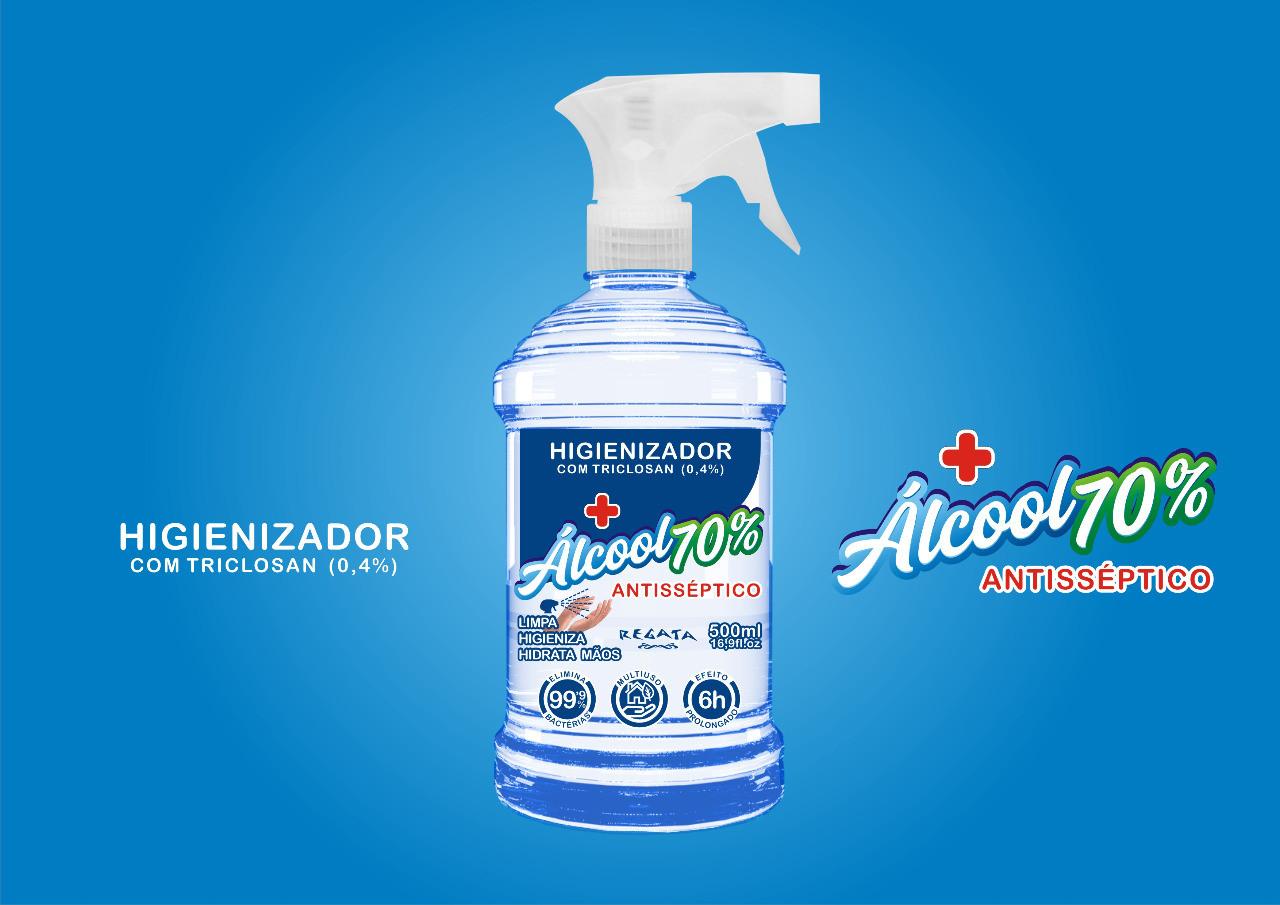 ÁLCOOL 70 LÍQUIDO ANTISSÉPTICO COM BORRIFADOR REGATA