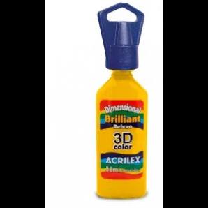 TINTA DIMENSIONAL BRILLIANT 35ML RELEVO 3D COLOR ACRILEX 505 AMARELO OURO