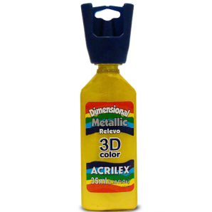 TINTA DIMENSIONAL METALLIC 35ML RELEVO 3D COLOR ACRILEX 553 AMARELO