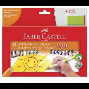 LÁPIS DE COR FABER CASTELL JUMBO COM 24 UNIDADES + APONTADOR