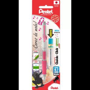 LAPISEIRA PENTEL 07MM PD217-PM QUICK CLICK ROSA + GRAFITE