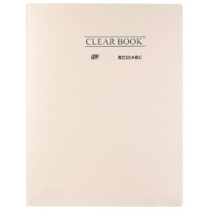 PASTA CATÁLOGO CLEAR BOOK YES BEGE PASTEL COM 20 SACOS PLÁSTICOS