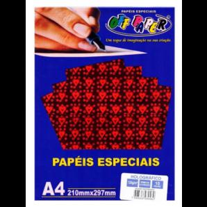 PAPEL HOLOGRÁFICO OFF PAPER VERMELHO COM CORAÇÃO COM 10 FOLHAS