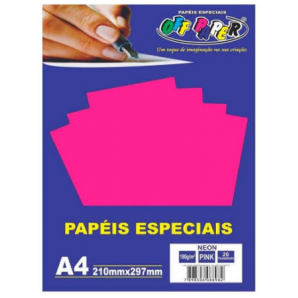 PAPÉIS ESPECIAIS OFF PAPER PINK NEON COM 20 FOLHAS