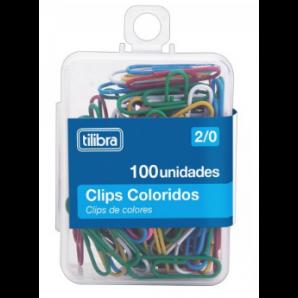 CLIPS TILIBRA NÚMERO 2/0 COLORIDO COM 100 UNIDADES