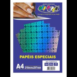 PAPEL HOLOGRÁFICO OFF PAPER AZUL COM LABIRINTO COM 10 FOLHAS