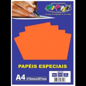 PAPÉIS ESPECIAIS OFF PAPER LARANJA NEON COM 20 FOLHAS