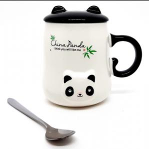 CANECA 3D CERÂMICA CHINA PANDA COM TAMPA E COLHER