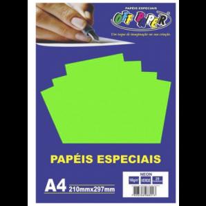 PAPÉIS ESPECIAIS OFF PAPER VERDE NEON COM 20 FOLHAS