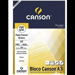 BLOCO PAPEL CANSON DESENHO BRANCO A3 COM 20 FOLHAS