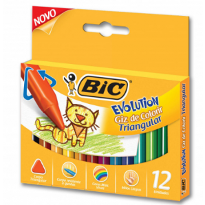 GIZ DE CERA BIC EVOLUTION TRIANGULAR COM 12 UNIDADES