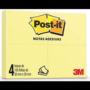POST IT 3M NOTAS ADESIVAS AMARELO 38X50 COM 4 UNIDADES