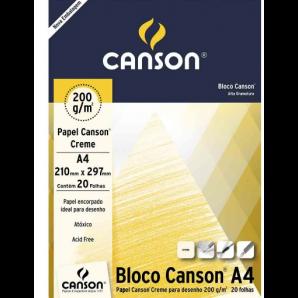 BLOCO PAPEL CANSON DESENHO CREME COM 20 FOLHAS