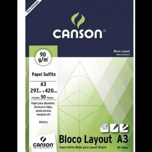 BLOCO PAPEL CANSON LAYOUT TÉCNICO A3 COM 50 FOLHAS