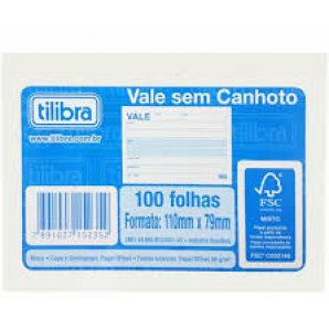 VALE SEM CANHOTO TILIBRA COM 100 FOLHAS