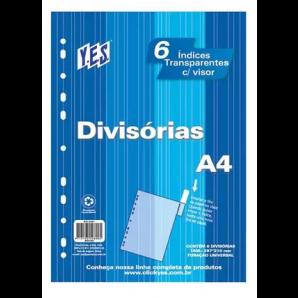 DIVISÓRIAS COM VISOR A4 YES CRISTAL COM 6 UNIDADES