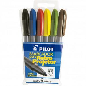 MARCADOR PILOT RETRO PROJETOR 2.0MM COM 6 UNIDADES