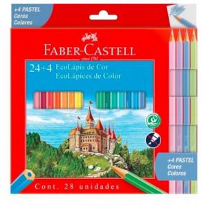 LAPIS DE COR FABER CASTELL COM 24 + 4 CORES PASTEL