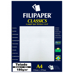 PAPEL FILIPAPER CLASSICS TELADO BRANCO 50 FOLHAS