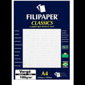 PAPEL FILIPAPER CLASSICS VERGÊ BRANCO 50 FOLHAS