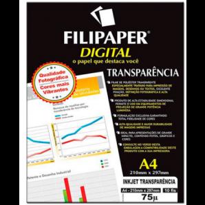 FILIPAPER DIGITAL INKJET TRANSPARÊNCIA FILIPERSON COM TARJA 10 FOLHAS