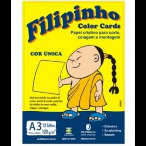 BLOCO CRIATIVE FILIPINHO A3 COLOR CARDS AMARELO 12 FOLHAS