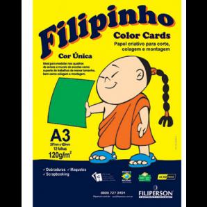 BLOCO CRIATIVE FILIPINHO A3 COLOR CARDS VERDE 12 FOLHAS