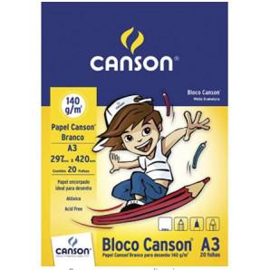 BLOCO DE DESENHO ESCOLAR BRANCO CANSON A3 COM 20 FOLHAS