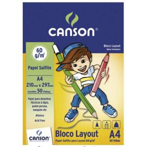 BLOCO PAPEL CANSON LAYOUT A4 60G COM 50 FOLHAS