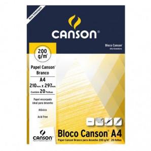 BLOCO PAPEL CANSON DESENHO BRANCO COM 20 FOLHAS