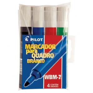 MARCADOR PARA QUADRO BRANCO PILOT WBM-7 COM 4 UNIDADES