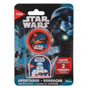 KIT TRIS APONTADOR + BORRACHA STAR WARS