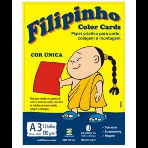 BLOCO CRIATIVE FILIPINHO A3 COLOR CARDS VERMELHO 12 FOLHAS