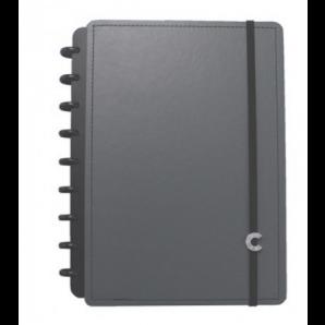 CADERNO INTELIGENTE CLAPPER MÉDIO 80 FOLHAS BASIC GREY
