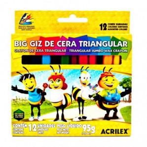 BIG GIZ DE CERA TRIANGULAR ACRILEX COM 12 UNIDADES