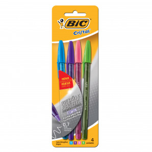 CANETA BIC CRISTAL ULTRA FINE 0.7MM FASHION COM 4 UNIDADES