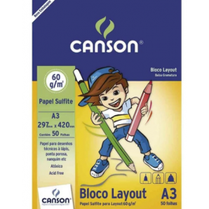 BLOCO PAPEL CANSON LAYOUT BRANCO A3 50 FOLHAS