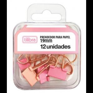 PRENDEDOR DE PAPEL TILIBRA ROSA PASTEL COM 12 UNIDADES