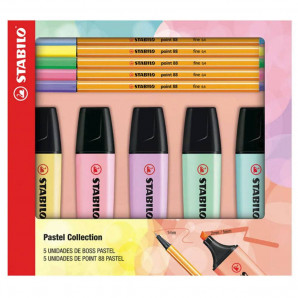 KIT CANETA E MARCA TEXTO  STABILO PASTEL COLLECTION COM 5 UNIDADES DE POINT 88 E 5 BOSS PASTEL