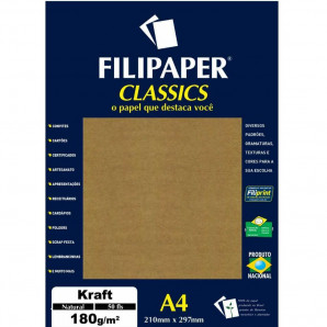 PAPEL FILIPAPER CLASSICS KRAFT NATURAL 50 FOLHAS