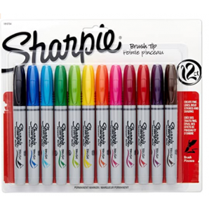 MARCADOR PERMANENTE SHARPIE BRUSH TIP COM 12 UNIDADES