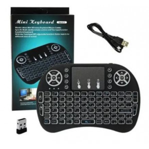 MINI TECLADO WIRELESS COM LED COLORIDO E TOUCH PAD UNIVERSAL. PARA TV SMART / ANDROID / PC - MINI KEYBOARD