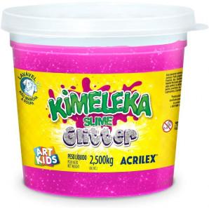 KIMELEKA SLIME ART KIDS GLITTER ROSA ACRILEX 2.500KG