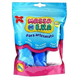 MASSA DE EVA ARTESANATO AZUL E BRANCO 50G COM 3 UNIDADES