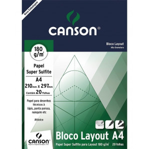 BLOCO PAPEL CANSON LAYOUT BRANCO 180G A4