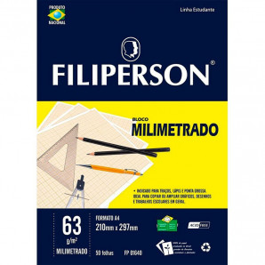 BLOCO PAPEL MILIMETRADO ESCOLAR FILIPERSON