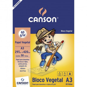 BLOCO PAPEL CANSON VEGETAL A3 60G