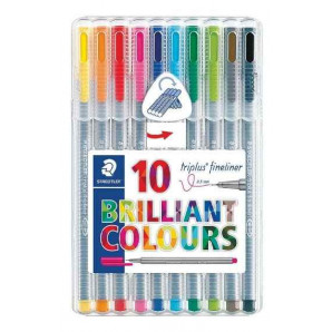 CANETA STAEDTLER TRIPLUS FINELINER BRILLIANTE COLOURS 0.3 MM C/10